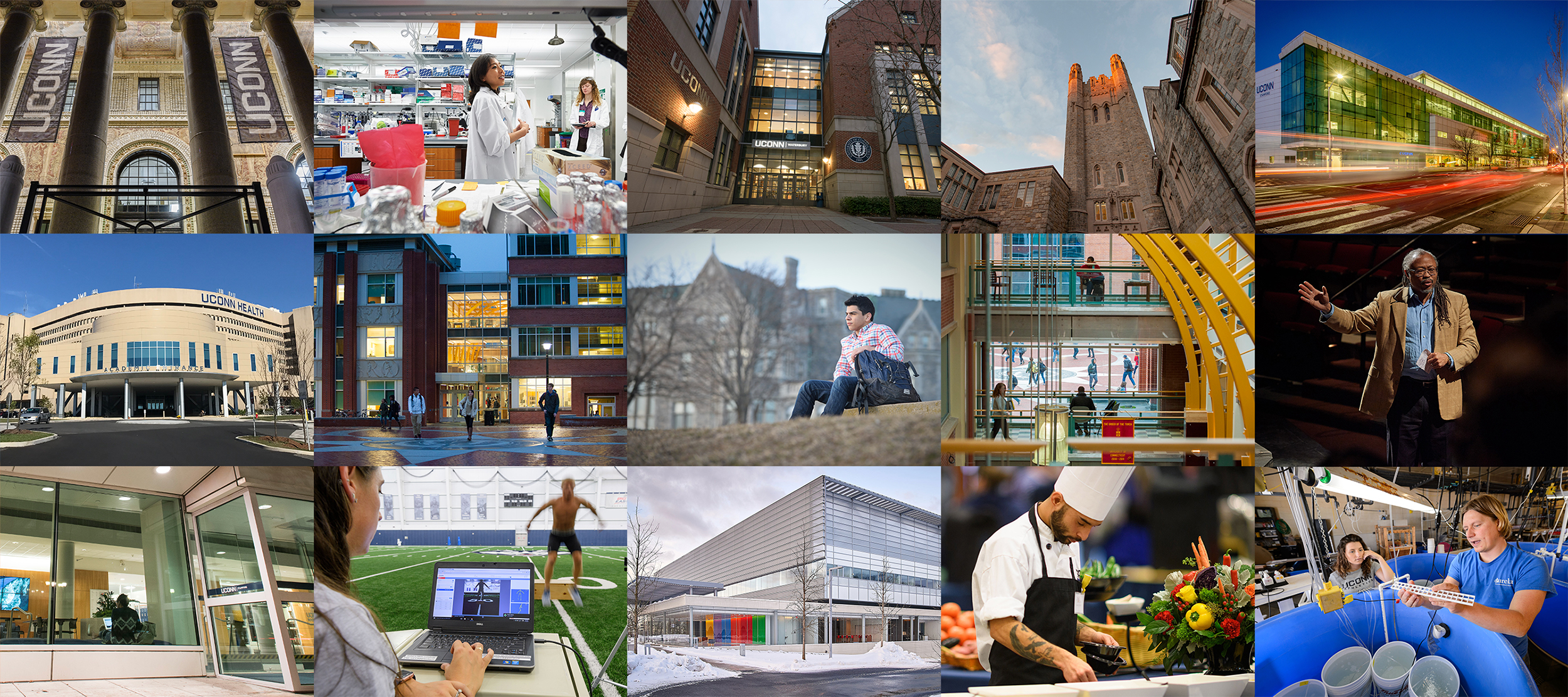 montage of different UConn spaces and job specialties